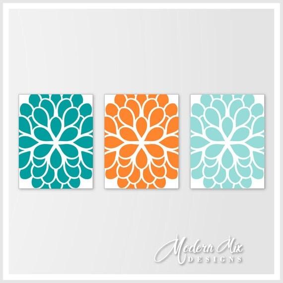 Flower Wall Art Turquoise Orange Aqua Dahlia By