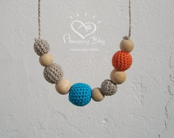 Natural Bright Teether, Grey Blue Orange Necklace, Crochet Bead Nursing Necklace, Organic Linen Eco friendly Waldorf Jewelry for Mommy 2017