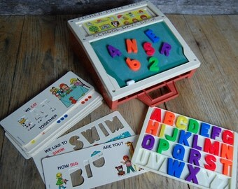 1972 Fisher Price School Days Desk - chalk board good condition with cards and magnet letters