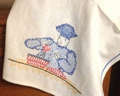 Vintage Hand Embroidered Kitchen Towel, Chef Baker Cook, Blue White Kitchen, Cottage