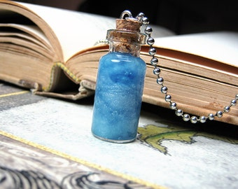 Blue Clouds in a Bottle Necklace Charm - Day Sky Cork Glass Vial Pendant - Kawaii