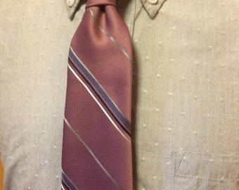 Vintage Christian Dior Dusty Pink Diagonal Stripe Silk/Poly Men's Tie c1970s