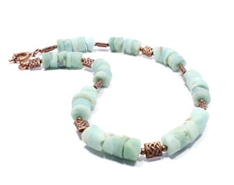 SALE - Raw Amazonite Necklace - Copper and Amazonite Gemstone Necklace - Natural Stone Necklace - Gemstone Jewellery - Beadwork Jewelry