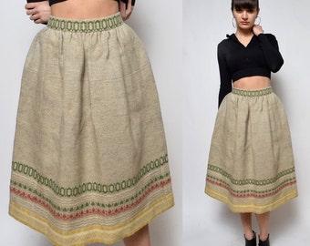 Vintage 70's Very Thick Fabric Folk High Waisted Midi Skirt