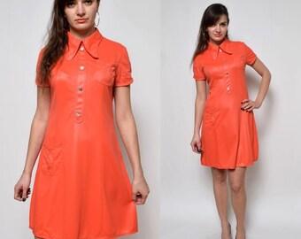 Vintage 70's Glossy Red Mini Dress