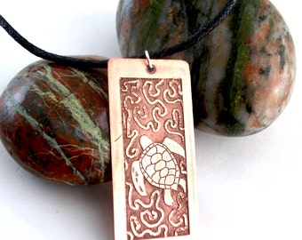 Turtle necklace, etched copper animal necklace, antique style, artisan jewellery
