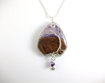 Tree On A Hill, Sterling Silver Wire Wrapped Pendant, Large Agate, Unique Ethical Jewellery