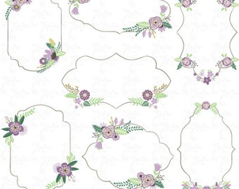 """Wedding Clipart pack""""WEDDING FLORAL FRAME""""clip art,Vintage Flower,Floral Frame,Wreath,Wedding,Save the date invitation,Instant DownloadWd074"""