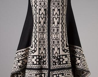 Black/Cream Tribal Print Cocoon-Cardi