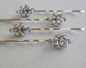 Set of 3, Swarovski Crystal leaf bobby pins, rhinestone, leaf, leaves, hair, bling, wedding, bridesmaid gift,  silver, bobby pin, hair pins