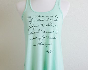 Wuthering Heights Flowy Tank in Mint - Heathcliff Quote - book quote tank top