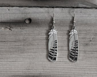 Spotted Owl Feather - Earrings