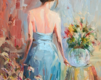 Girl in Blue Dress Giclee Print of Original Acrylic Painting