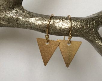 Tiny Triangle Earrings, Geometric Earrings, Gold Triangle Earrings, Chevron Earrings, Simple Gold Earrings, Drop Earrings