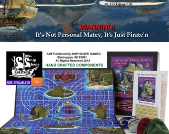 """Great Pirate Board Game!  """"Curse of Davey Jones - Pirate adventure for everyone, arggh......matey!             Crafted by family for family!"""