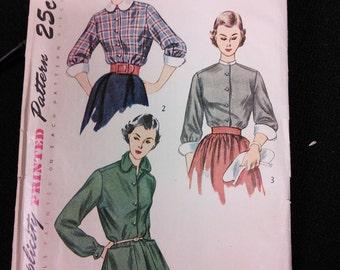Simplicity 3301 Blouse Shirt Top Classic Peter Pan Collar Sewing Pattern 1950s 50s Size 14