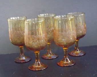Vintage, Set of five amber wine glasses with beaded design