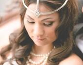 Bohemian, Headpiece - Wedding Headpiece, Romantic, Crystal Embellished, Bridal, Rhinestone Chain Headband - Boho Headpiece