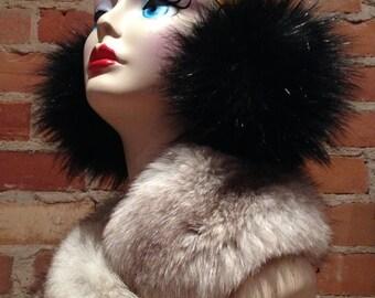 Faux Fur Earmuffs - Fluffy Black Fox Faux Fur Earmuffs