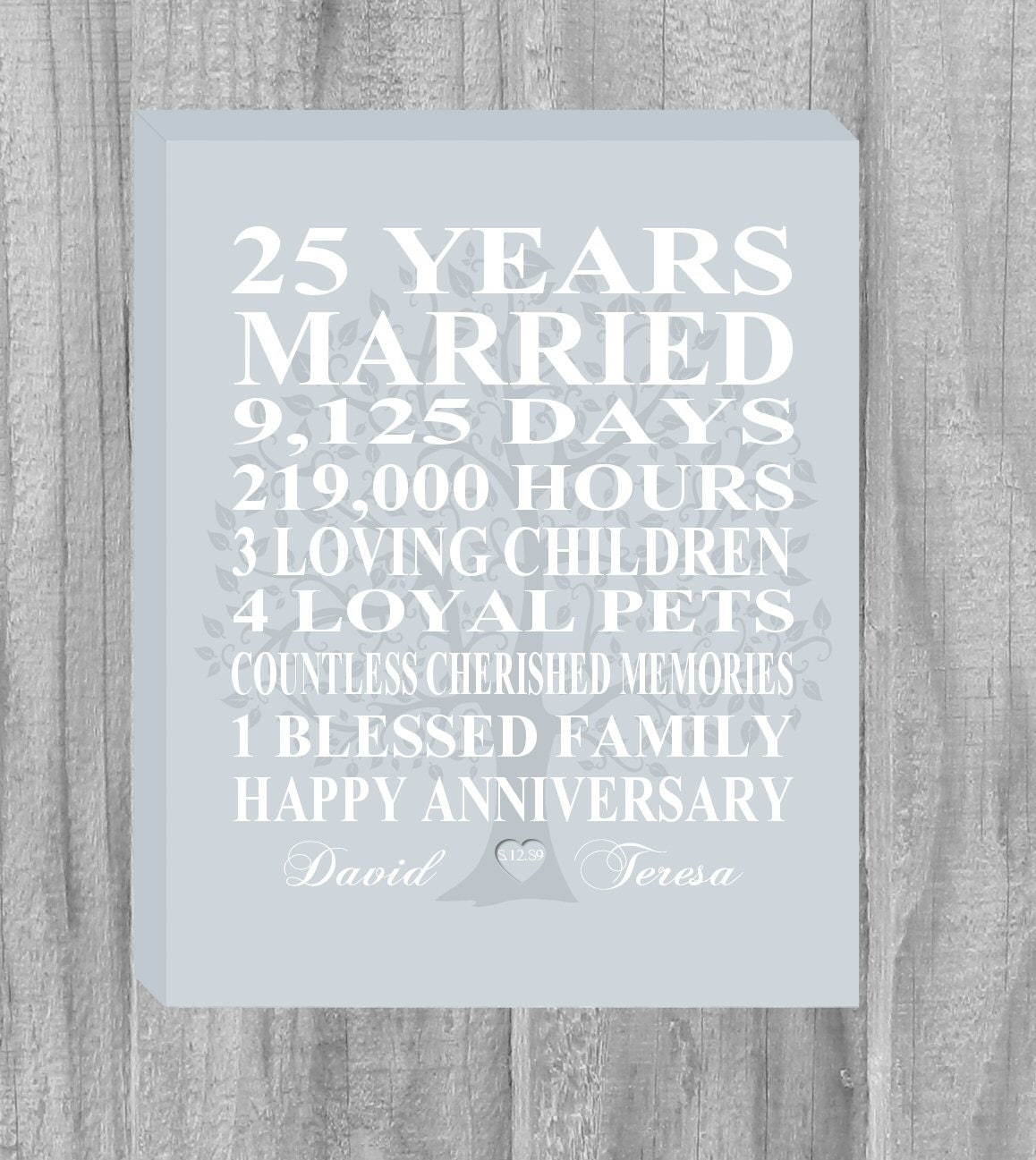 Best Gift For 25 Wedding Anniversary: CANVAS Personalized 25th Anniversary Gift Family Tree