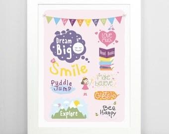 Girls Room Decor, Girls Art, Girls Wall Art, Inspirational Art, Nursery Art