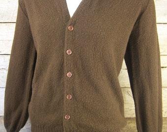 Chocolate Brown Sweater // 1950s Stuart McQuire Medium Jumper Pullover