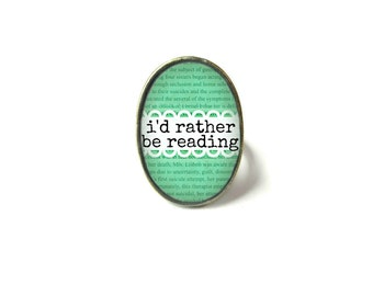 I'd Rather Be Reading Book Ring, Quote Jewelry, Book Page Jewelry, Bookworm Ring, Nerdy Book Jewelry, Book Page Ring, Book Lover Jewelry