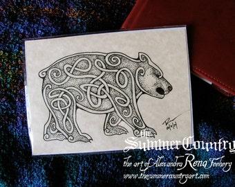 Celtic Knotwork Bear Art Print - 5x7
