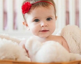 Red Mini Shabby Flower Headband, Baby Headband, Newborn Headband, Flower Headband, Red Flower
