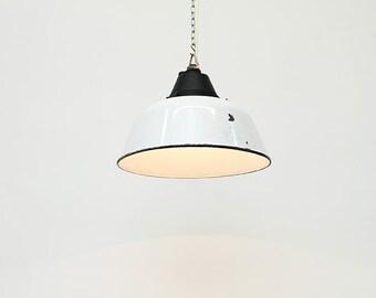 "Pendant industrial  lamp , in metal :""White Magyar""."