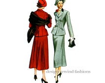 1940s VOGUE SUIT JACKET & Skirt Pattern Fitted Jacket A-Line Skirt Vogue 2476 Reissue UNCuT Vintage 50s Womens Sewing Patterns Bust 34 36 38