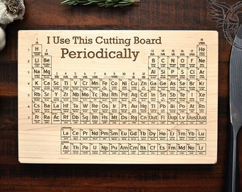 Periodic table cutting board engraved wood kitchen decor science art geeky christmas gift for - Periodic table chopping board ...