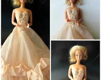 Vintage Barbie Doll| Vintage 1966 Barbie Doll| Malibu Barbie 1966 Doll| Vintage Barbie Peach and Lace Strapless Gown|Barbie Fashions 1960's