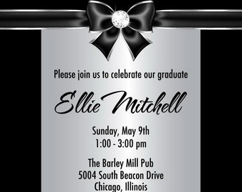 Silver Graduation Party Invitations - Diamond Graduation Announcement - College or High School Senior