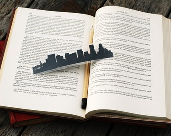 Portland, Oregon - Hand-cut Silhouette Bookmark, Portland Skyline, Travel Bookmark, Cut Paper, Portland Bridges