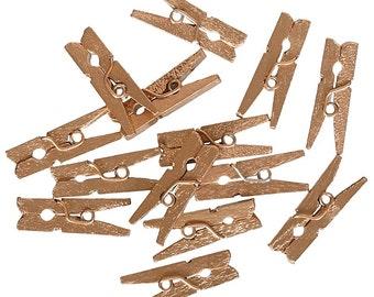 50 Gold Miniature Clothespins