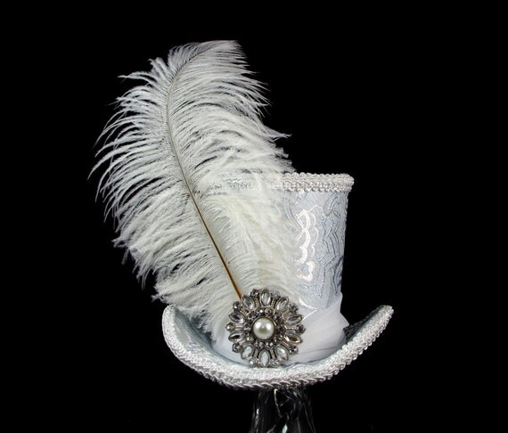 Ice Queen – Ice Blue and White Large Mini Top Hat Fascinator, Alice in Wonderland, Mad Hatter Tea Party, Derby Hat