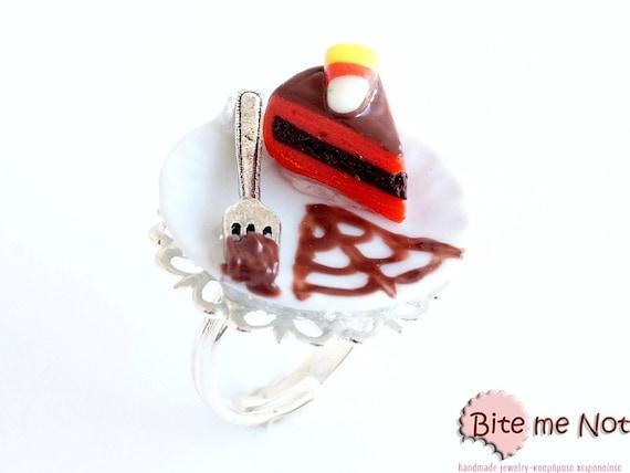 Halloween Piece of Cake Ring Mini Food Jewelry - Miniature Food Jewelry, Handmade Ring, Polymer Clay, Dollhouse Miniatures