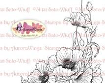 Instant Download - Digital Stamp - Poppy - digistamp - Oriental Poppy - Floral Line Art for Cards & Crafts