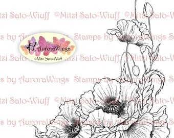 Instant Download - Digital Stamp - Poppy - digistamp - Oriental Poppy - Floral Line Art for Cards & Crafts