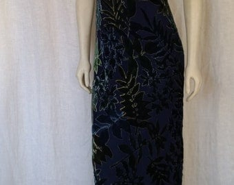 Vintage 90's Silk Velvet Burnout Column Dress