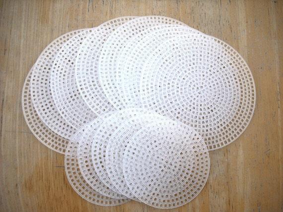 13 plastic canvas circles round plastic canvas discs white for Plastic grid sheets crafts