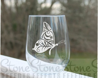 butterfly, wine glasses, butterfly wine glass, etched stemless wine glasses, - 17oz, Engraved Wine Glasses, stemless wine glass etched