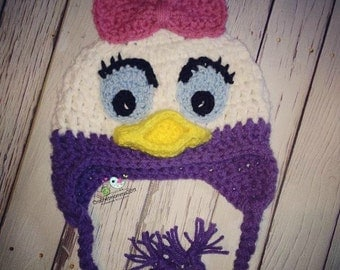 Daisy Duck Hat,photo prop, Crochet, Handmade, BABY girl, TODDLER girl, birthday gift, baby shower gift, Gift