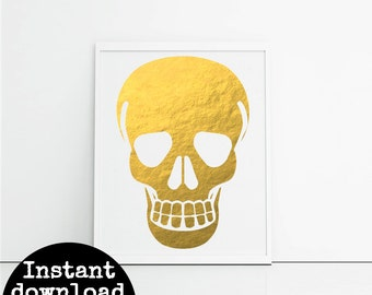 Printable gold skull 8x10inch - quirky art for the home - office or mancave - human skull art - skeleton art - cute housewarming gift