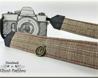 "Camera strap ""old english"" british style"