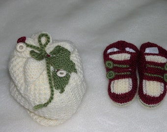 Baby Christmas - hat and fine socks hand-knitted