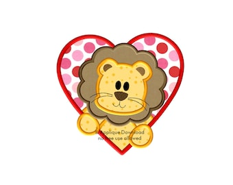 Cute Lion in a Heart - Valentine's Day Applique Design - 3 sizes - Instant EMAIL Download