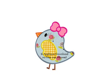 Birdie with Bow Applique Design - Instant EMAIL With Download - for Embroidery Machines