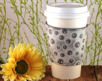 CLEARANCE / Fabric Coffee Cozy / Gray Circles Coffee Cozy / Gray Coffee Cozy / Coffee Cozy / Tea Cozy